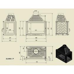 Wkład kominkowy KRATKI OLIWIA 18 kW prawy - kominek KRATKI