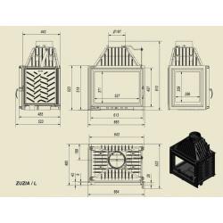 Wkład kominkowy KRATKI ZUZIA 16 kW lewy - kominek KRATKI