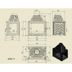 Wkład kominkowy KRATKI ZUZIA 16 kW prawy - kominek KRATKI
