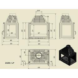 Wkład kominkowy KRATKI ZUZIA 16 kW lewy/prawy - kominek KRATKI