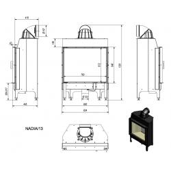 Wkład kominkowy KRATKI NADIA 13 kW - kominek KRATKI