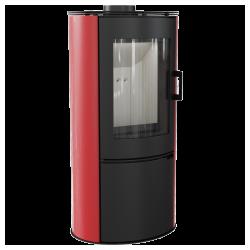 piec wolnostojący Koza AB STAL DR z wylotem spalin fi 150 z panelami kaflowymi - czerwony kafel