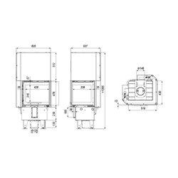 DEFRO HOME INTRA XSM BP MINI G prawy gilotyna - wkład kominkowy 8 kW - kominek narożny gilotyna DEFRO INTRA XSM BP MINI G