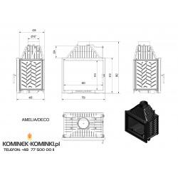 Wkład kominkowy KRATKI AMELIA 25 kW DECO + blenda - kominek KRATKI