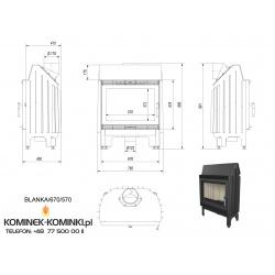 Wkład kominkowy KRATKI BLANKA 670/570 12 kW - kominek KRATKI