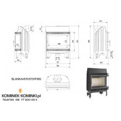 Wkład kominkowy KRATKI BLANKA 670/570 12 kW prawy BS (szyby łączone bez szprosa) - kominek KRATKI