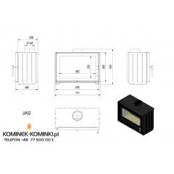 Wkład kominkowy KRATKI JAŚ 6 kW - kominek KRATKI