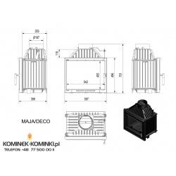 Wkład kominkowy KRATKI MAJA 12 kW DECO + blenda - kominek KRATKI