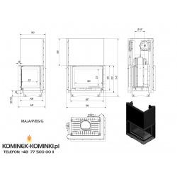 Wkład kominkowy KRATKI MAJA 12 kW prawy BS gilotyna (szyby łączone bez szprosa) - kominek KRATKI