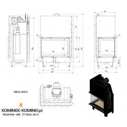 Wkład kominkowy KRATKI MBA 17 kW lewy BS gilotyna (szyby łączone bez szprosa) - kominek KRATKI