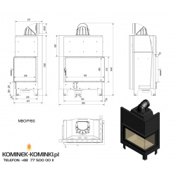 Wkład kominkowy KRATKI MBO 15 kW prawy BS (szyby łączone bez szprosa) - kominek KRATKI