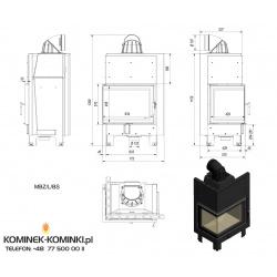 Wkład kominkowy KRATKI MBZ 13 kW lewy BS (szyby łączone bez szprosa) - kominek KRATKI