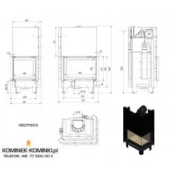 Wkład kominkowy KRATKI MBZ 13 kW prawy BS gilotyna (szyby łączone bez szprosa) - kominek KRATKI
