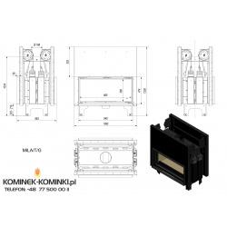 Wkład kominkowy KRATKI MILA 16 kW tunel gilotyna - kominek KRATKI