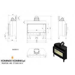 Wkład kominkowy KRATKI NADIA 14 kW - kominek KRATKI