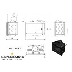 Wkład kominkowy KRATKI WIKTOR 14 kW DECO + blenda - kominek KRATKI