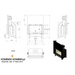 Wkład kominkowy KRATKI ZIBI 12 kW gilotyna + blenda - kominek KRATKI