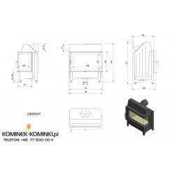 Wkład kominkowy KRATKI ZIBI 12 kW prawy BS (szyby łączone bez szprosa) - kominek KRATKI