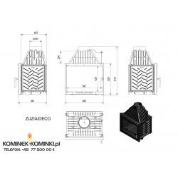Wkład kominkowy KRATKI ZUZIA 16 kW DECO + blenda - kominek KRATKI