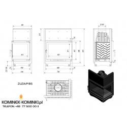 Wkład kominkowy KRATKI ZUZIA 16 kW prawy BS (szyby łączone bez szprosa) - kominek KRATKI