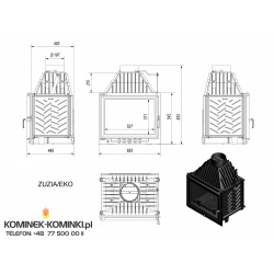 Wkład kominkowy KRATKI ZUZIA 16 kW EKO - kominek KRATKI