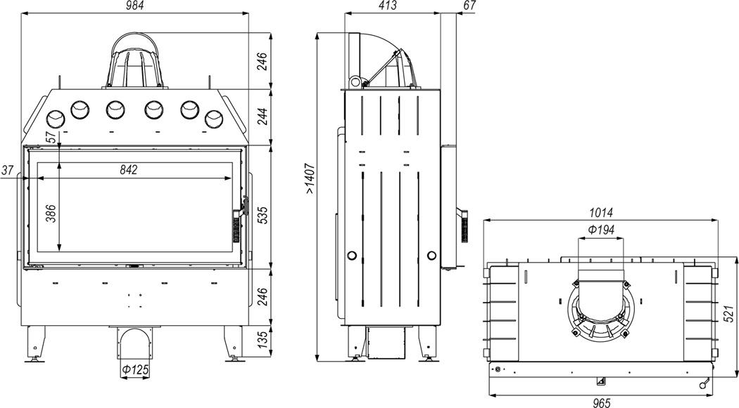 Dane techniczne rozmiar (wysokość x szerokość x głębokość) wkład kominkowy DEFRO PRIMA LA